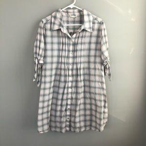 Converse One Star Plaid Button Down Shirt Dress XL